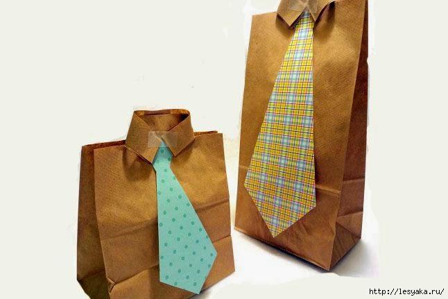 Как завернуть подарок мужчине в виде рубашки 81