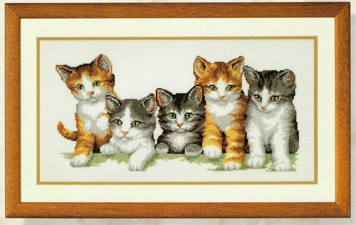 Вышивка крестом кошка и котенок 771