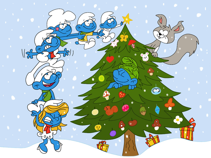 The Smurfs Christmas (700x525, 350Kb)