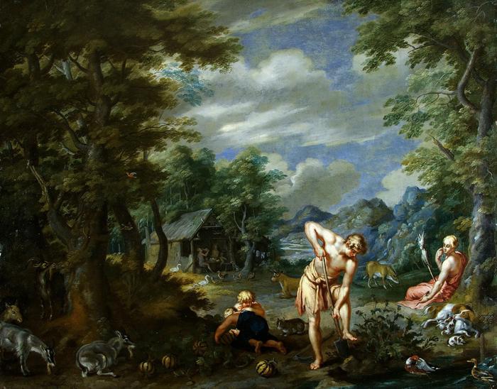 Адам за работой в поле (частная коллекция) (700x548, 467Kb)