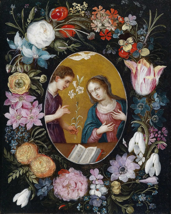 Благовещение в цветочной гирлянде (частная коллекция) (558x700, 508Kb)