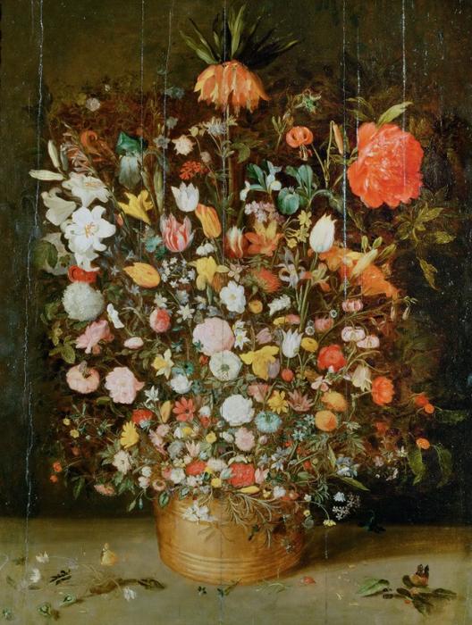 Букет цветов в деревянном вазоне (частная коллекция) (528x700, 487Kb)