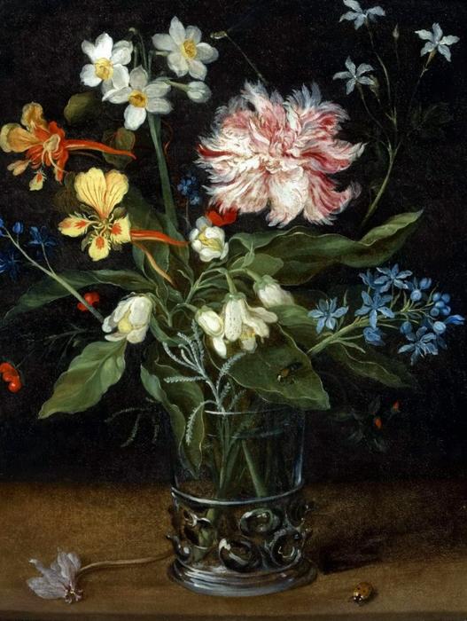 Букет цветов в стеклянной вазе (частная коллекция) (527x700, 406Kb)