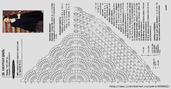 Вязание шали крючком ракушки с описанием