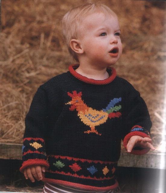 Детский пуловер с петухом