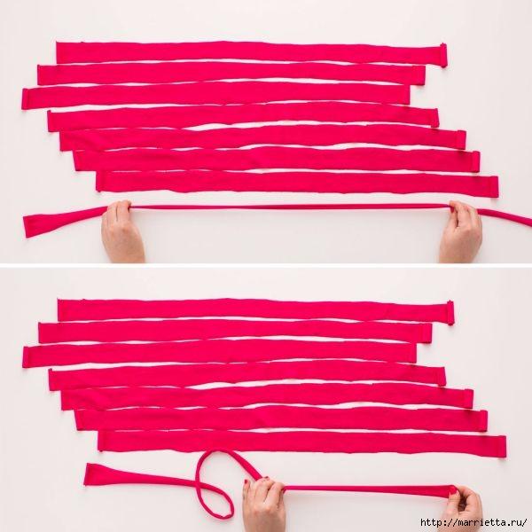 Из футболки. Плетение кашпо для цветочного горшка (6) (600x600, 137Kb)