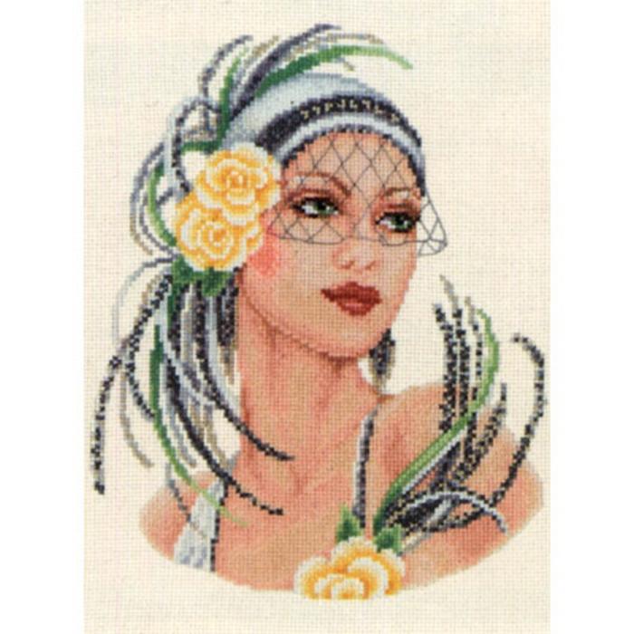 Yellow Rose Flapper Lady (700x700, 373Kb)