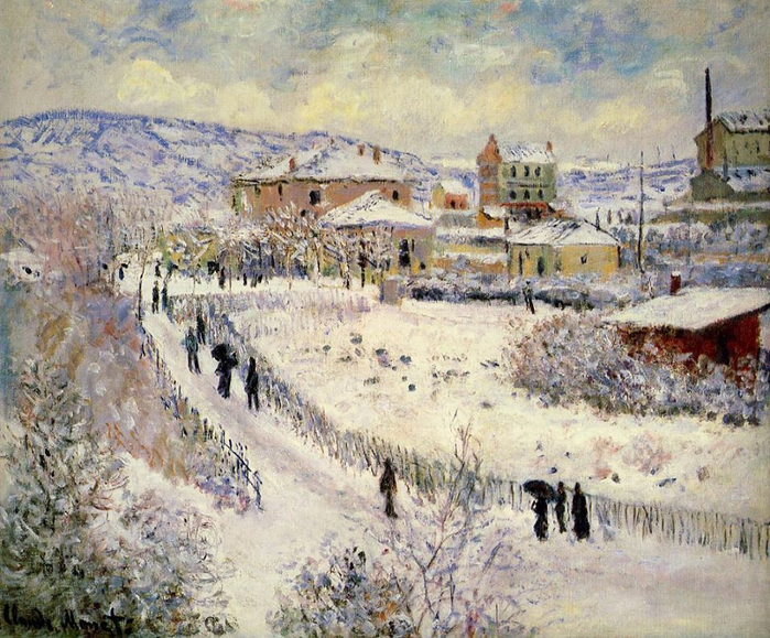 Claude Monet 1875_ View of Argenteuil in the snow (700x579, 518Kb)