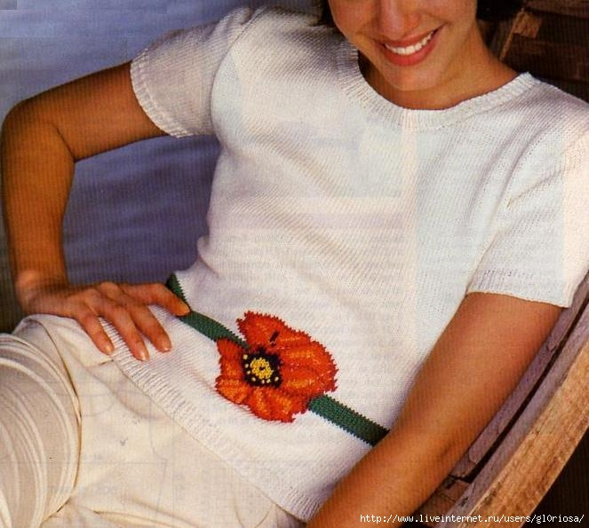 Белый Пуловер С Цветком Доставка
