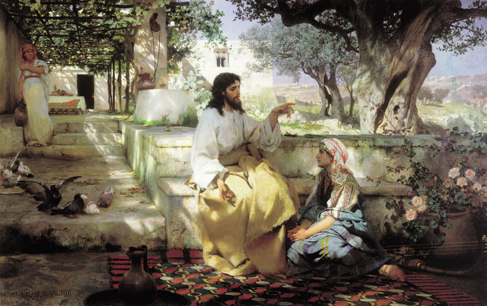 Христос у Марфы и Марии (700x439, 112Kb)