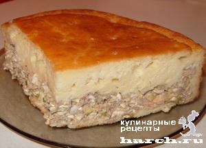Заливной пирог с консервированной рыбой на кефире рецепт
