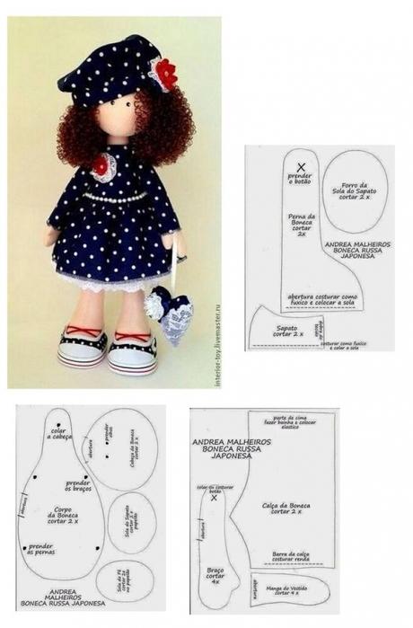 Выкройки для текстильной куклы своими руками
