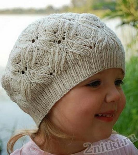 Вязание спицами берет для девочек
