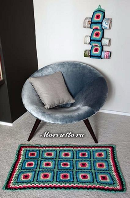 Бабушкин квадрат крючком для вязания коврика (3) (425x649, 241Kb)