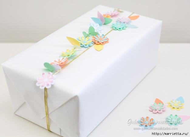 Цветочная гирлянда из бумаги для упаковки подарка (11) (626x451, 93Kb)
