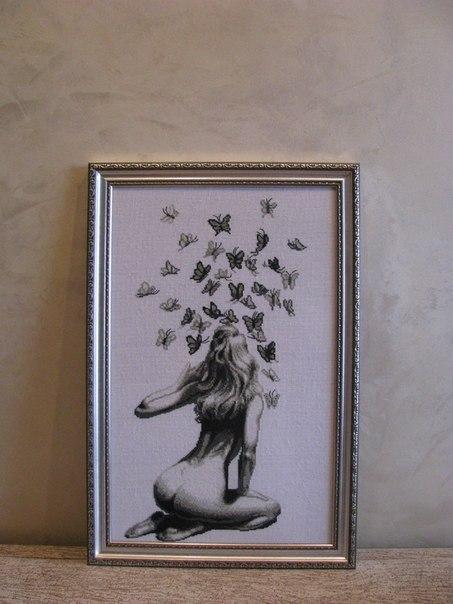 Вышивка схема девушка с бабочками 65