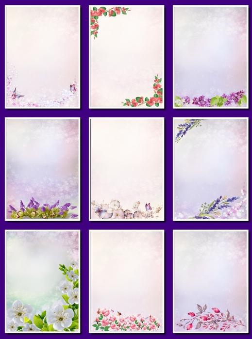 Фоны цветочные для оформления творческих работ, А4. 27  png. Часть 17.