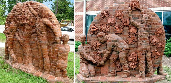 скульптуры из кирпича Брэд Спенсер 1 (700x340, 428Kb)