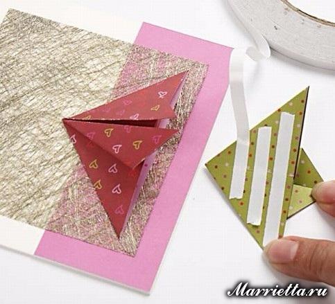 Новогодняя открытка с елочкой в технике оригами (11) (483x439, 190Kb)