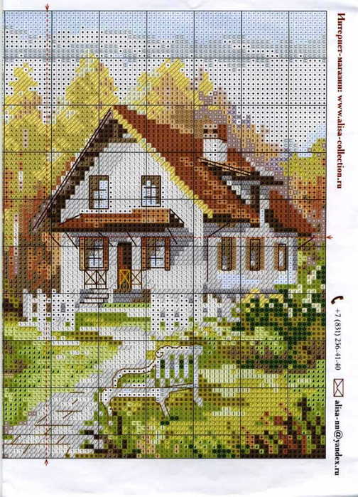 Вышивка крестом домик в деревне схема