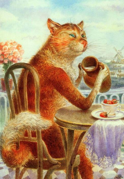 коты в искусстве Владимир Румянцев петербургские коты 4 (488x700, 408Kb)