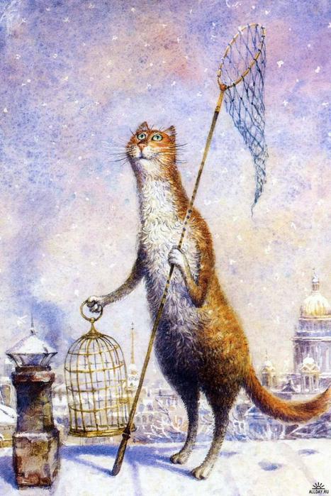 коты в искусстве Владимир Румянцев петербургские коты 6 (467x700, 412Kb)