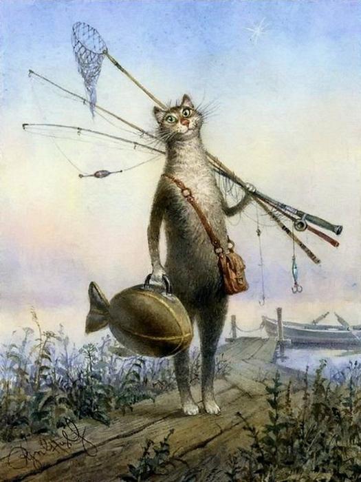 коты в искусстве Владимир Румянцев петербургские коты 11 (525x700, 345Kb)