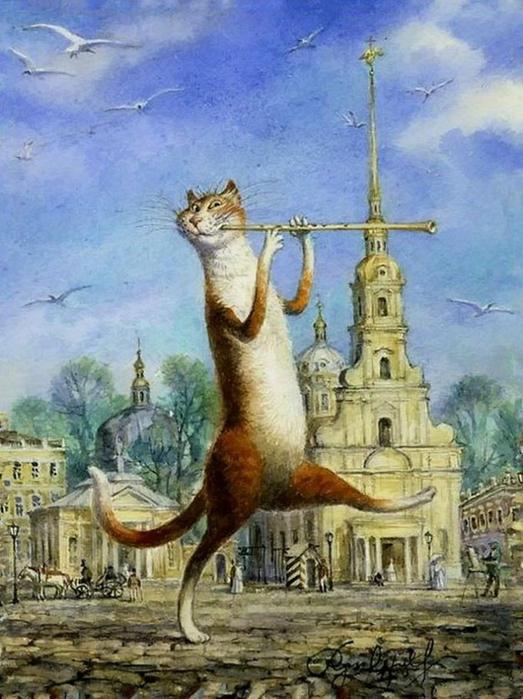 коты в искусстве Владимир Румянцев петербургские коты 16 (523x700, 391Kb)