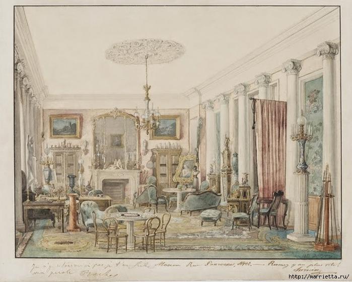 Дизайн интерьера. Романтика 19-го века. Акварель (7) (700x560, 259Kb)