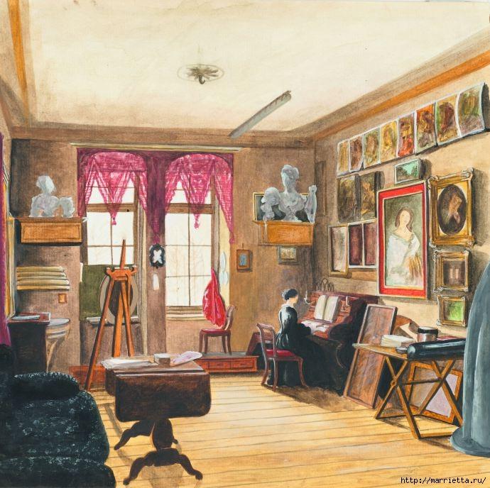 Дизайн интерьера. Романтика 19-го века. Акварель (35) (690x688, 274Kb)