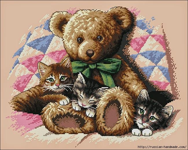 Схема вышивки Медвежонок с Котятами (3) (650x520, 311Kb)
