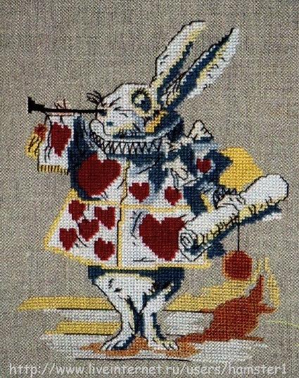 Схема для вышивки белый кролик