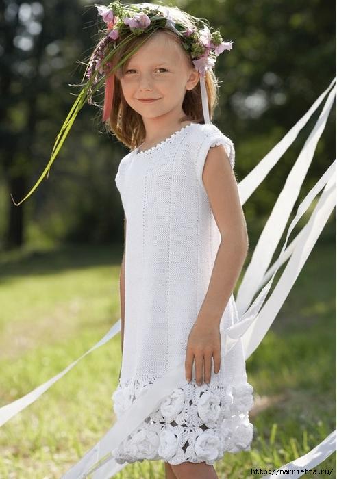 Платье для девочки. Схема цветов для обвязки подола (4) (492x700, 237Kb)