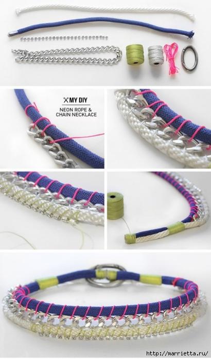 Ожерелье из шнурка и цепочки (2) (410x700, 187Kb)