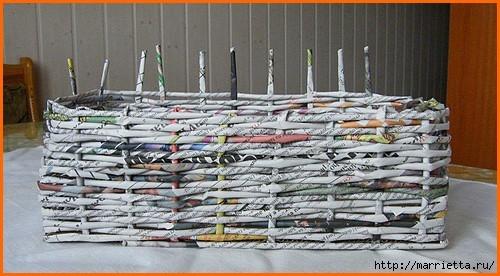 Плетение из газет. Оплетаем коробку (7) (500x276, 128Kb)