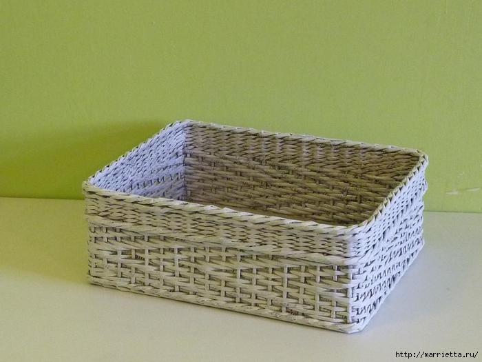 прямоугольные корзинки из газетных трубочек (13) (700x525, 232Kb)