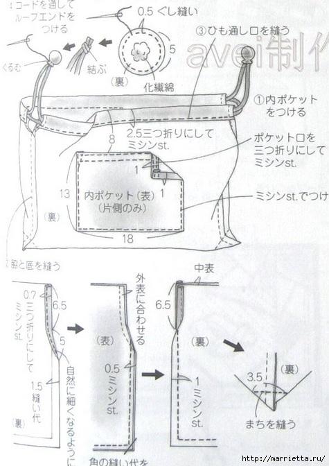Сумочка из полосок ткани и цветочков йо-йо (4) (475x672, 175Kb)