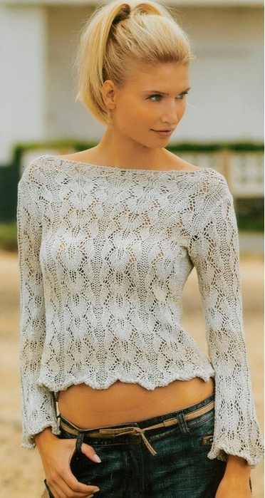 Летний ажурный пуловер спицами (4) (372x700, 293Kb)