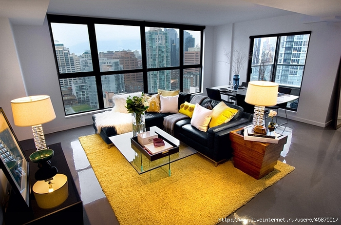 Gray yellow living room