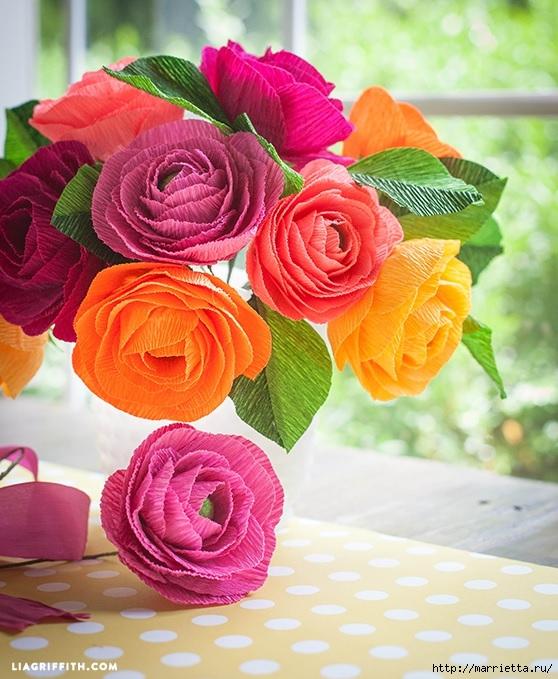 Радужные розы из итальянской гофрированной бумаги (3) (558x679, 272Kb)