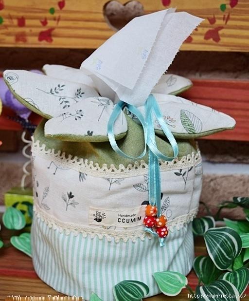 Bolsa de la materia textil por un rollo de papel higiénico.  Cosa ti mismo (3) (512x618, 202Kb)