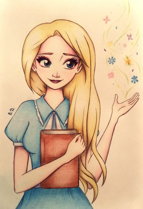 Девочка с личным дневником рисунок