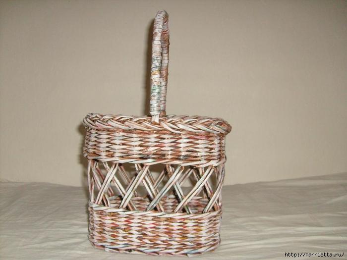 Плетение из газет. Мастер-классы по плетению корзинок и вазочек (27) (700x525, 205Kb)
