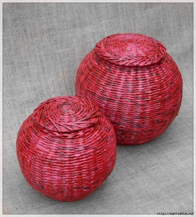 Плетение из газет. Мастер-классы по плетению корзинок и вазочек (33) (633x700, 357Kb)