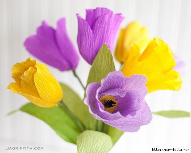 Тюльпаны из гофрированной и офисной бумаги. Мастер-классы (4) (617x494, 136Kb)