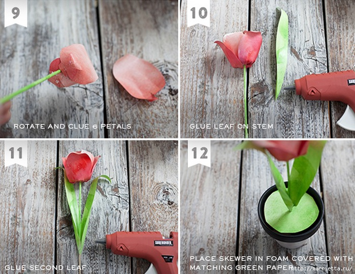 Тюльпаны из гофрированной и офисной бумаги. Мастер-классы (15) (700x539, 265Kb)