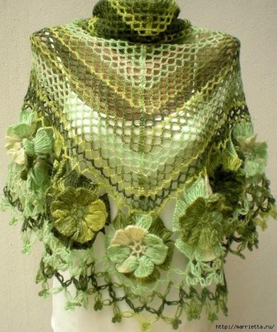 Вязание на вилке цветов для