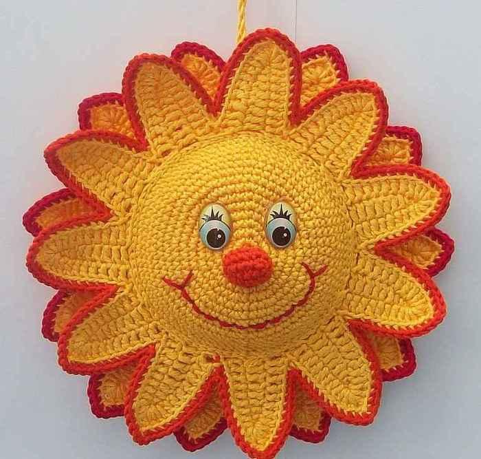 Как связать крючком солнышко схема