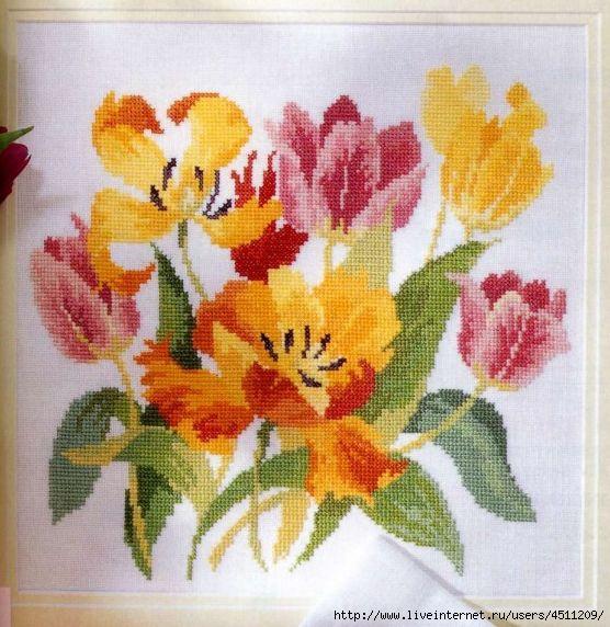 Акварельные тюльпаны. Вышивка