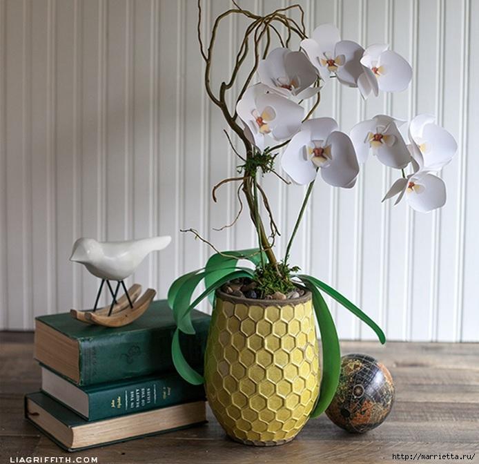 Цветы белой орхидеи из бумаги (1) (694x672, 249Kb)